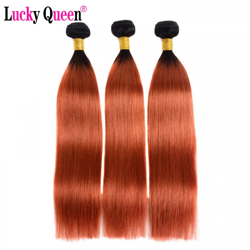 Tissage en lot péruvien naturel Remy lisse, Lucky Queen, couleur Orange, Extensions de cheveux humains, Ratio moyen, 350