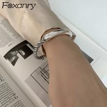 Foxanry 925 Sterling Silver Couples Bracelet for Women New Trendy Elegant Vintage Simple Twist Gloss