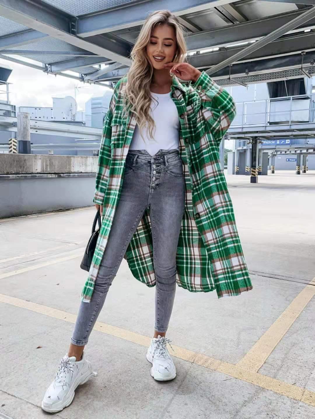 Женская длинная рубашка в клетку, повседневная зеленая рубашка с длинным рукавом, карманами, пуговицами и воротником, осень-весна 2021