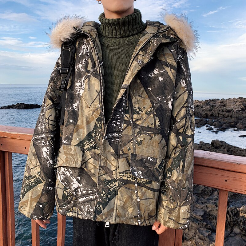 Зимняя камуфляжная Мужская парка, Мужская парка в стиле хип-хоп, Мужская одежда, мужская пуховая куртка, винтажные Пузырьковые пальто, толст...