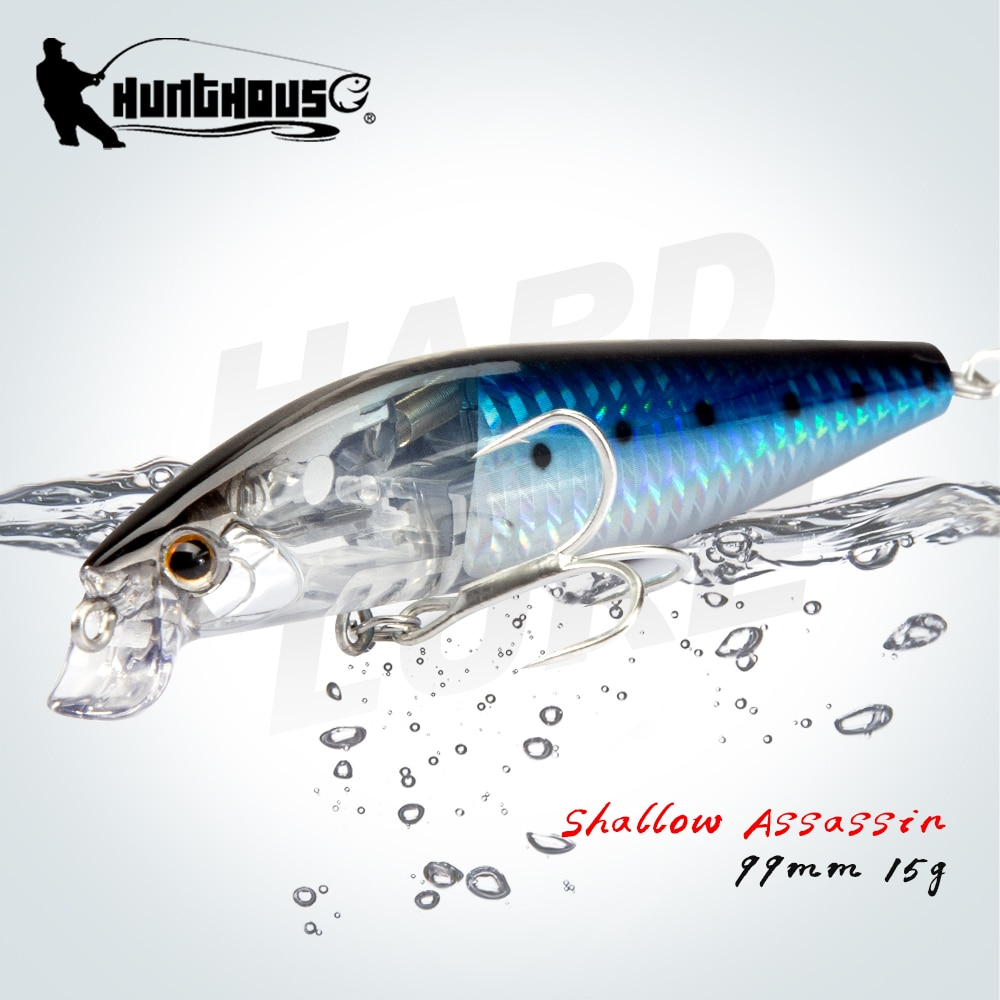Hunthouse Seabass Fishing Lures Wobblers Minnow Baits Floating 99mm 15g Depth 0.1-0.3m Like Real Baitfish enlarge