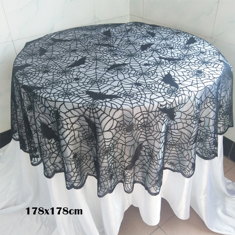 Halloween negro tejido murciélagos Spiderweb fiesta Decoración Accesorios tela de chimenea encaje mantel cortinas Horror Halloween Accesorios