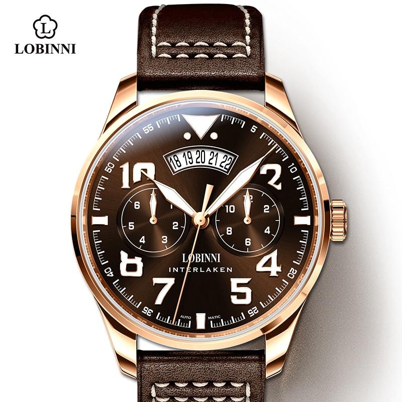 Lobinni جديد ماركة فاخرة التلقائي الميكانيكية ساعة رجالي الياقوت الكريستال الفولاذ المقاوم للصدأ ميوتا 9122 مقاوم للماء 50 مللي متر ساعة