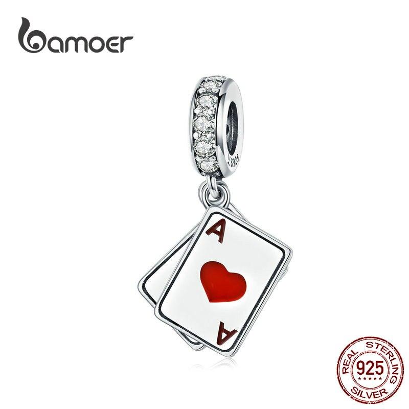 Двойной кулон BAMOER Poker Ace, оригинальный 925 серебряный браслет с шармами из стерлингового серебра 925 пробы, DIY ювелирных изделий SCC1172