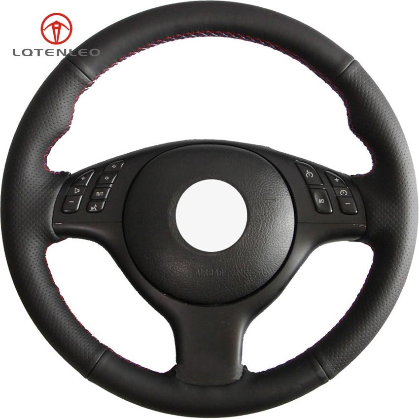 LQTENLEO negro de cuero Artificial DIY protector para volante de coche para BMW M E46 330i 330Ci E39 540i 525i 530i M3 M5 2000-2006