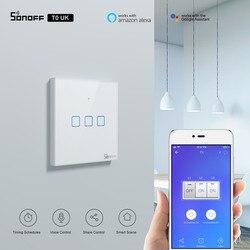 Itead sonoff tx uk interruptor touch, interruptor de parede sem fio t0uk controle remoto via e-welink app funciona com alexa