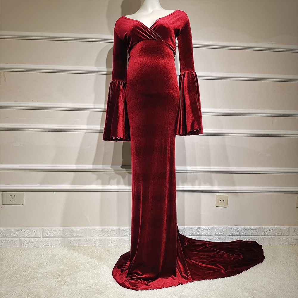 Winter Velvet Maternity Dress Photo Shoot Christmas Photography Prop Maxi Long Gown Fall Pregnancy Clothing for Baby Shower Gift enlarge