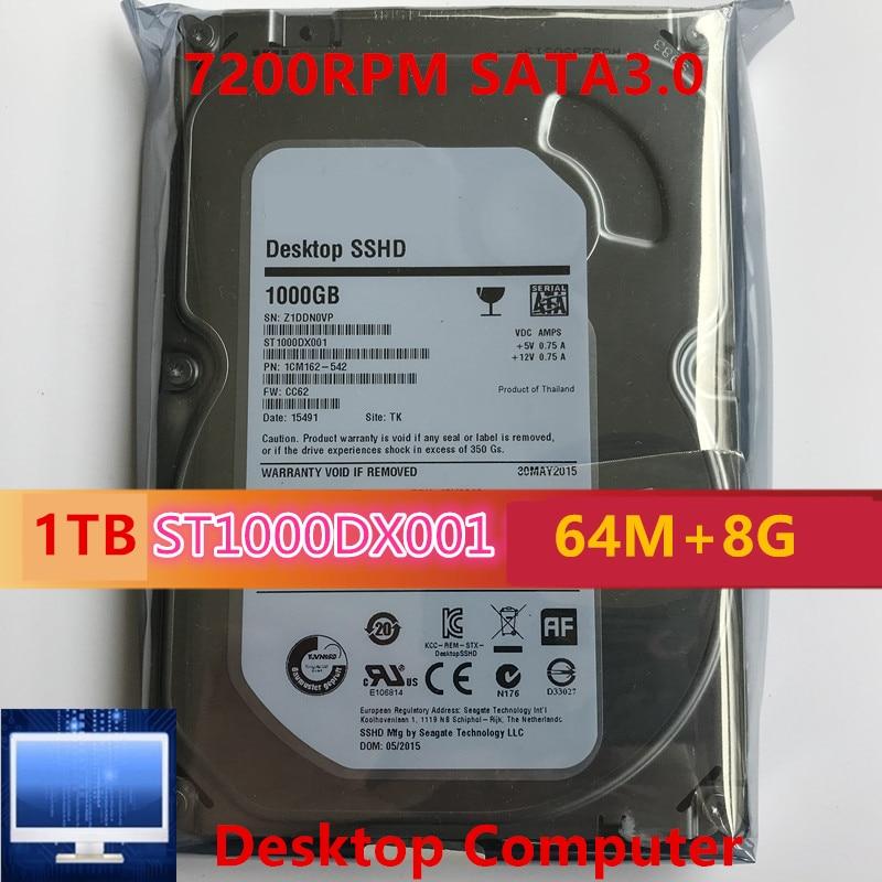 "Nuevo SSHD para Seagate Brand 1TB 3,5 ""SATA 6 Gb/s 64MB + 8G 7200RPM para disco duro interno para HDD de escritorio para ST1000DX001"