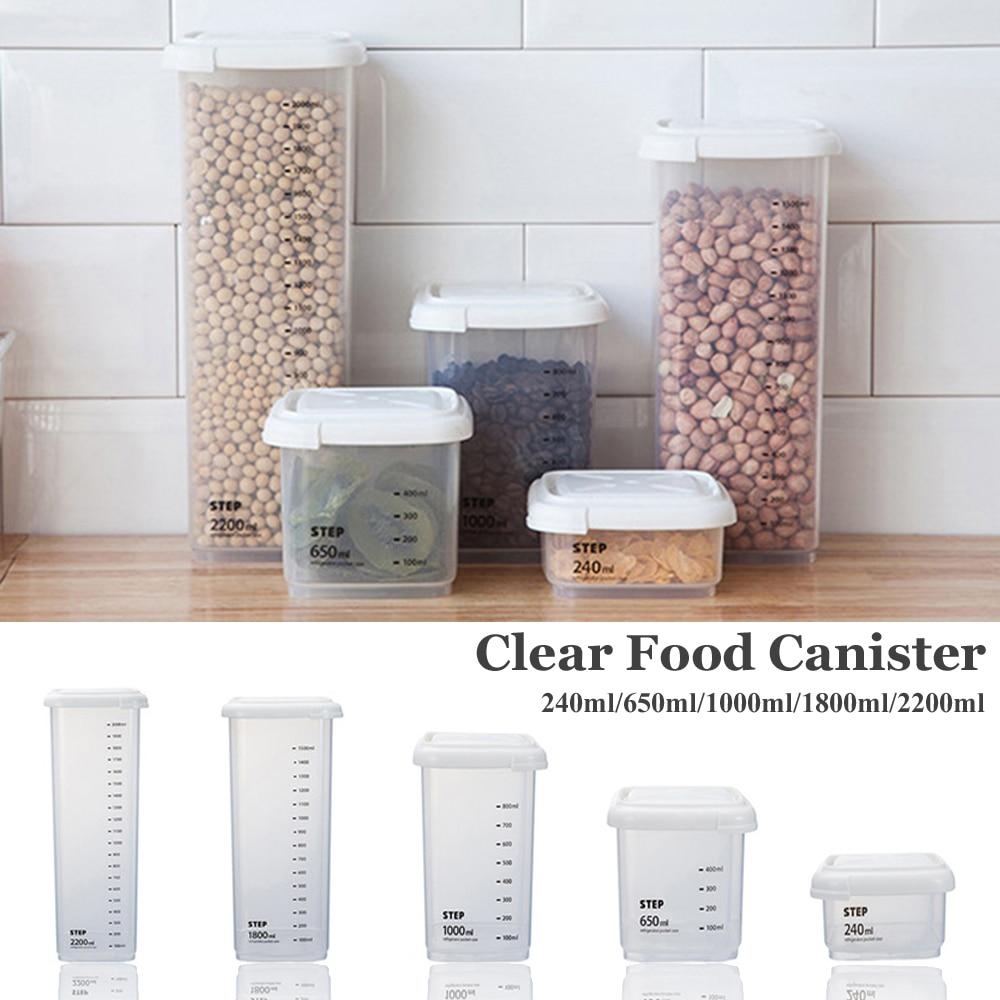 Latas selladas transparentes de plástico de 2200ml cubiertas de granos de alimentos cocina casera mantener fresco tarro de almacenamiento de alimentos transparentes cajas de almacenamiento para SNACK