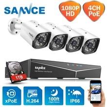 SANNCE 4CH 1080P HDMI POE NVR kiti CCTV güvenlik sistemi 2MP IR IP66 su geçirmez açık IP kamera tak & oyun Video gözetleme seti