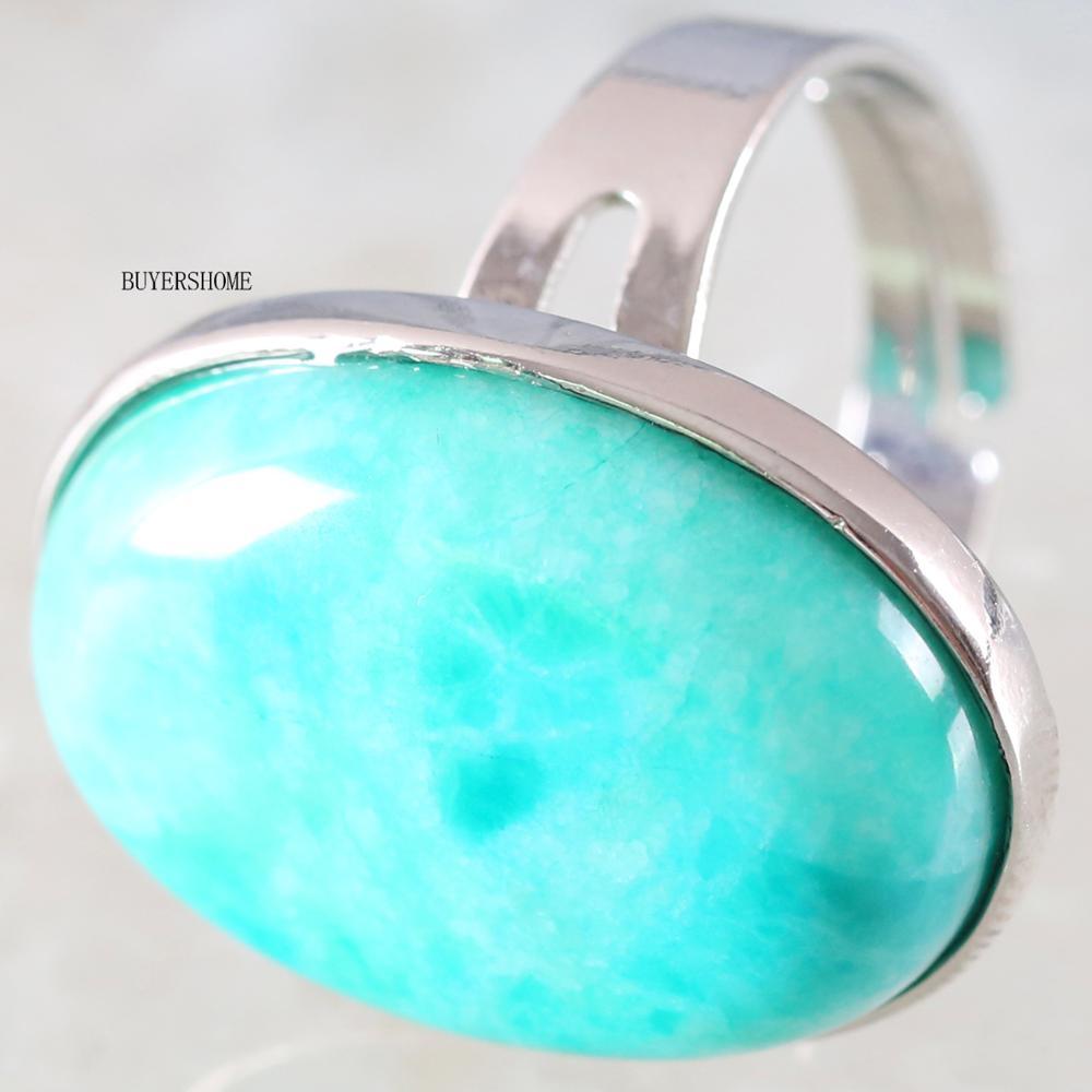 1 pçs anel de cor jóias para presente feminino pedra natural oval grânulo verde amazonite ajustável dedo anel z109