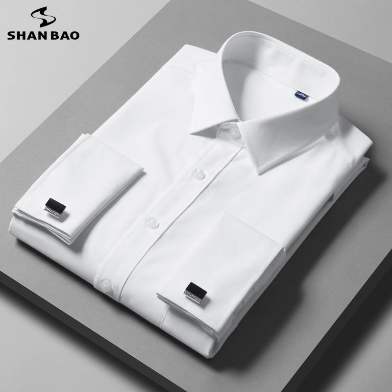 شان باو الفاخرة عالية الجودة الخيزران الألياف الرجال قميص حفلة 2021 الفرنسية الكلاسيكية ماركة الكفة الأعمال شهم قميص غير رسمي الأبيض