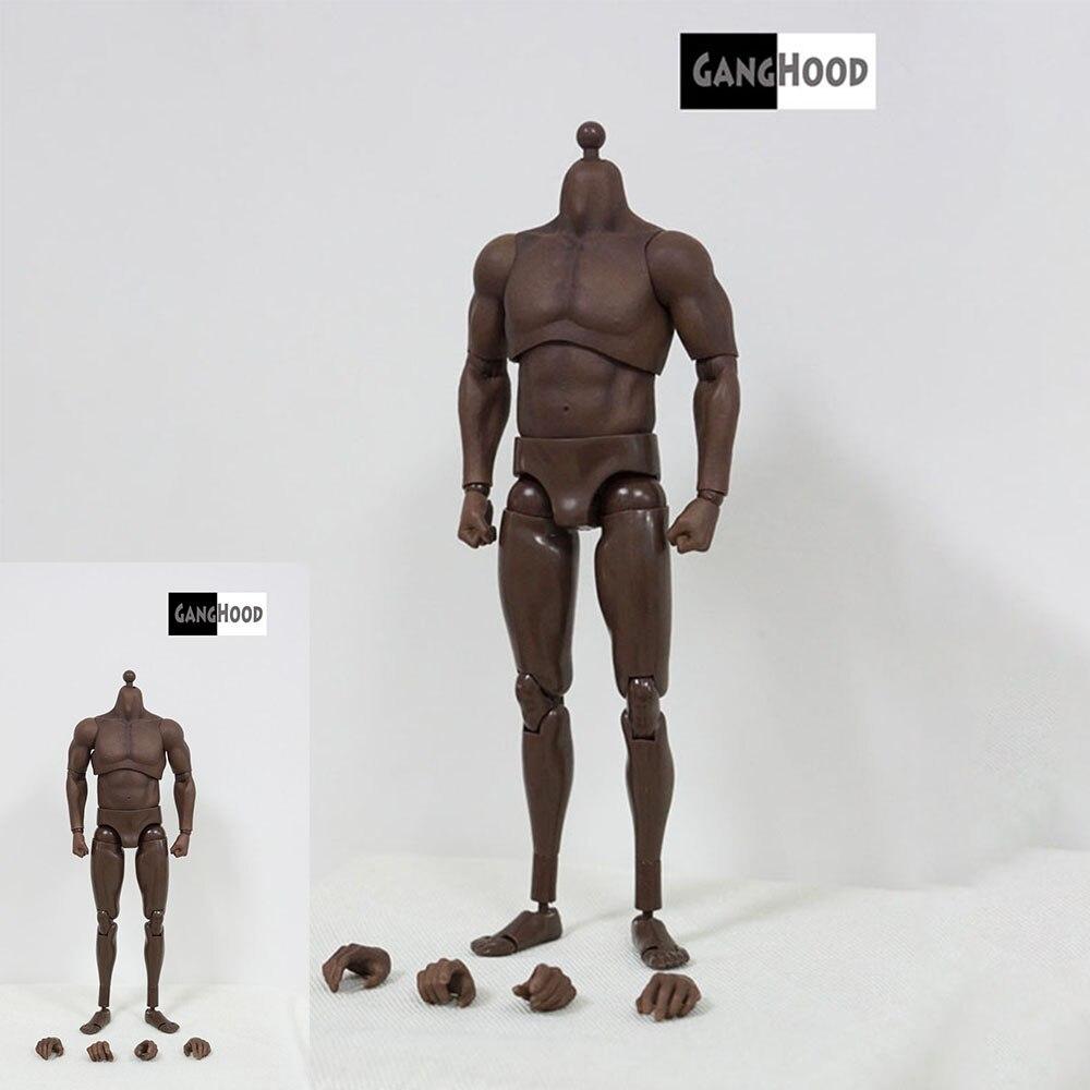 GANGHOOD 1/6 Scale Black Flexible Muscle Strong Body for 1/6  Male Head Model Toy In Stock недорого