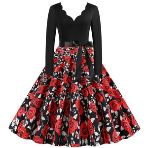 2020 Women Summer Dresses Office Clothing Robe Vintage 50s 60s Pin Up Swing Party Rockabilly Dress Floral Print Vestidos#J30
