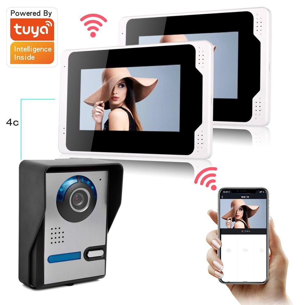 Smart Home Wifi Wired Video Door Phone Intercom Doorbell With Remote Control Unlock Door Waterproof Frame 6 Languages Tuya App enlarge