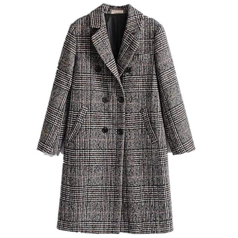 Femmes classique treillis hiver pardessus revers Double boutonnage laine Long manteau