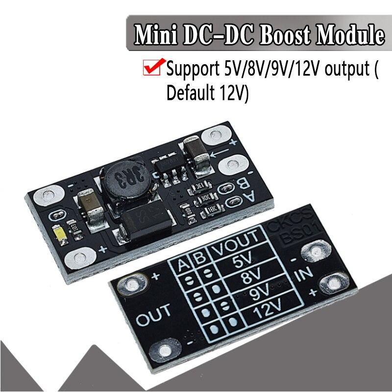 1.5a multi-função mini módulo de impulso passo acima da placa 5v 8v 9v 12v led indicador diy módulo de tensão 3.7v bateria de lítio impulso