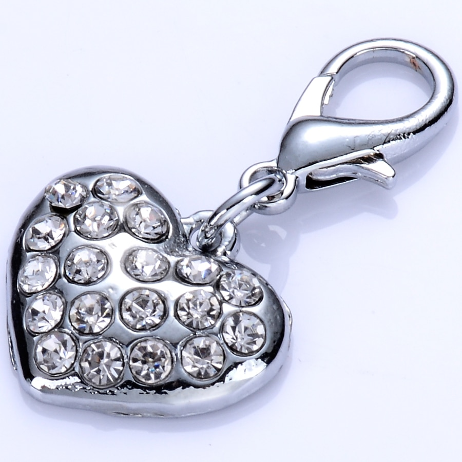 Fashion Rhinestone Dog Tags For Collar Heart Shaped Pendants Charm Necklace Jewelry Accessories