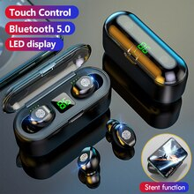 TWS F9 Wireless Headphone Stereo Sport Bluetooth Earphone Touch Mini Earbuds Bass Headset with 2000m