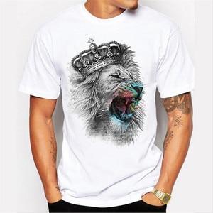 2020 T shirt Men Crown Lion 3D White printing Men's T-shirt Fashion Animal Casual Short-Sleeve o-neck hipster tops harajuku  tee
