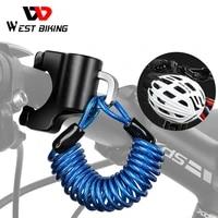 west biking mini bike helmet lock anti theft alloy cable lock for helmet bag motorcycle mtb bicycle accessories with two keys
