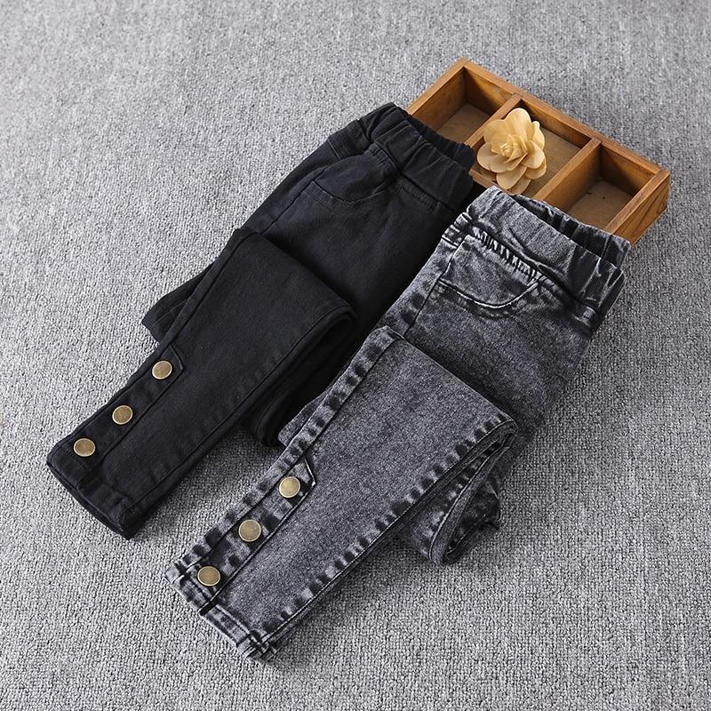 Модные джинсы для девочек, весенне осенние джинсовые брюки с эластичным поясом, новые узкие джинсы для подростков, Детские повседневные брюки для девочек Джинсы    АлиЭкспресс