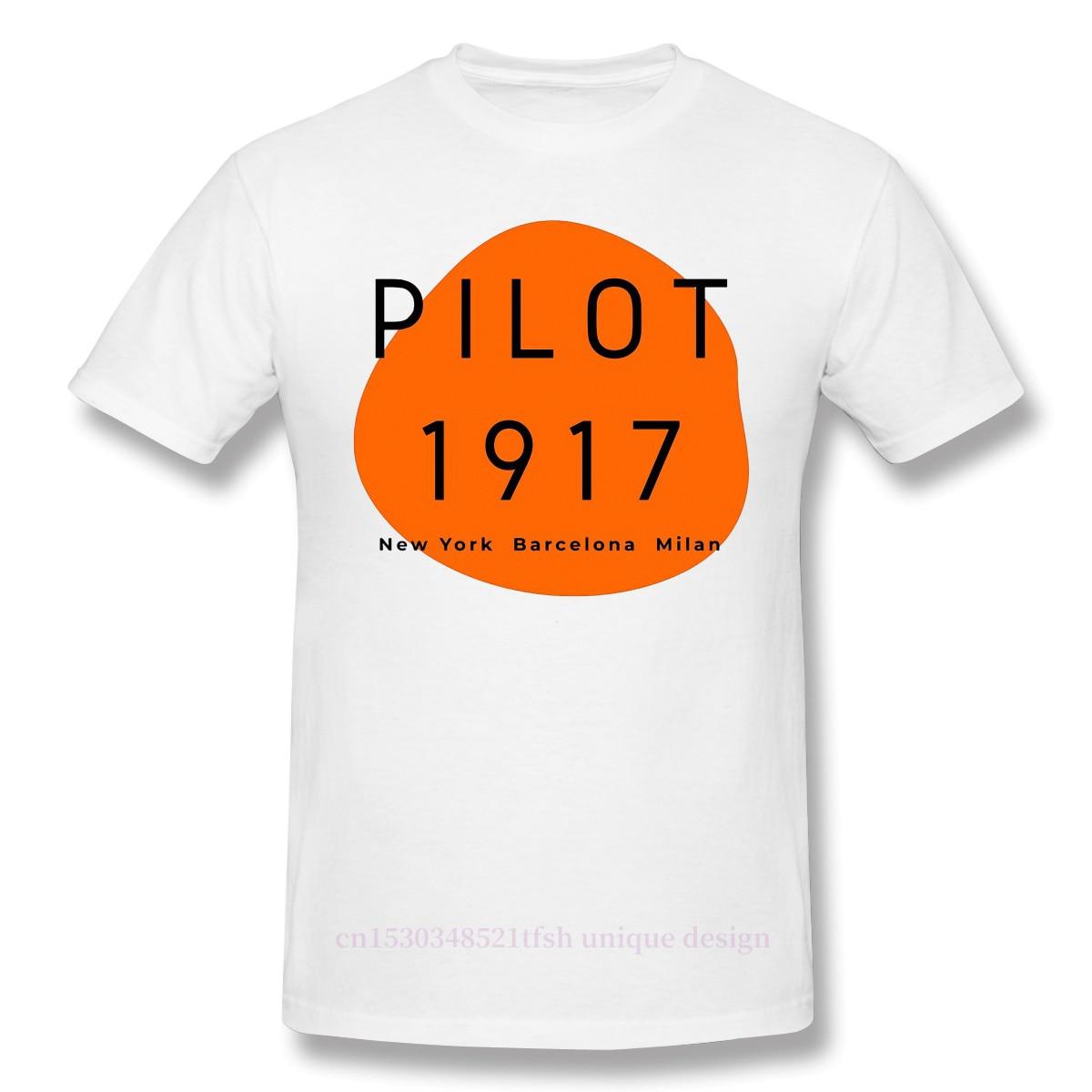 Piloto estampado naranja Camiseta de algodón Camiseta Hombre América guerra aventura 1917...