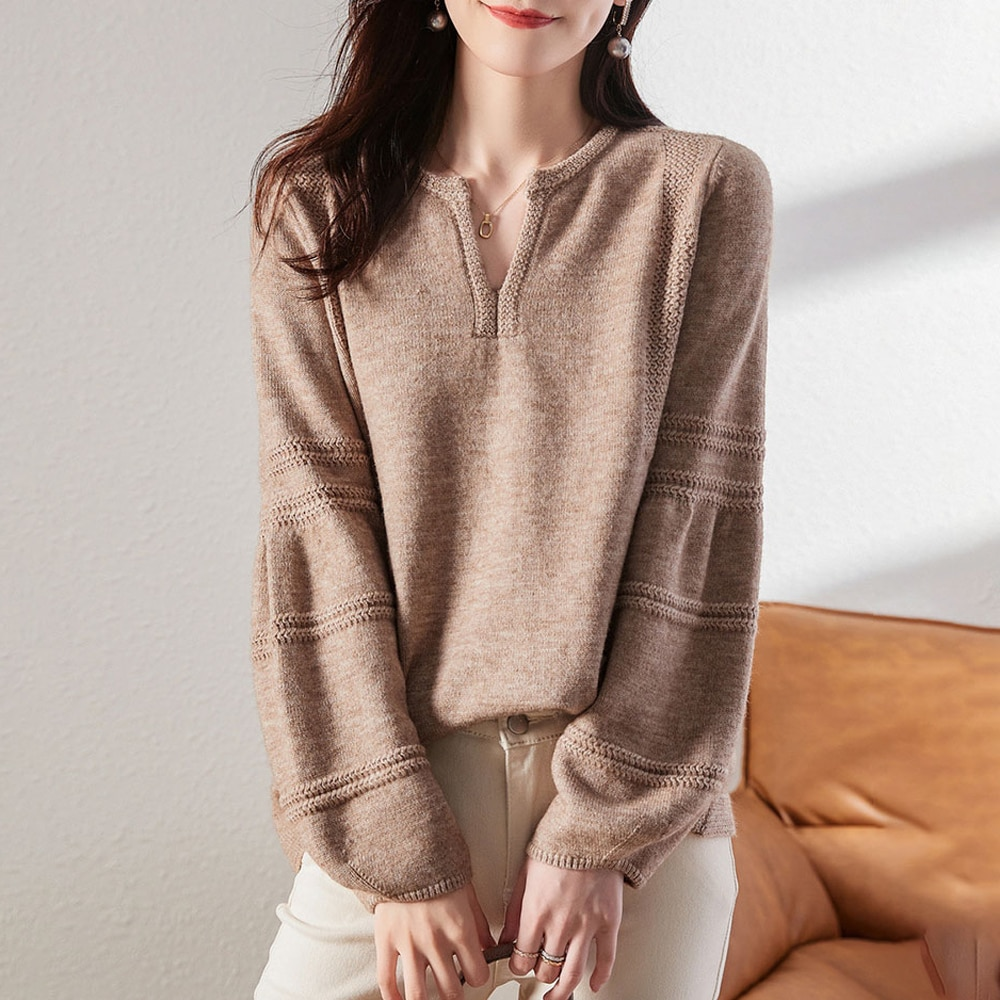 Women's Knitwear Long Sleeve V-neck Pullovers Sweater Lantern Sleeve Top Khaki Spring Autumn 2021 New Office Lady Clothing