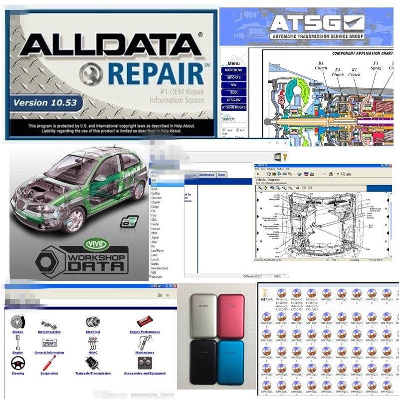 Auto ALLDATA mi. ell Software de datos 10,53 + mi t. Ell 2015 + camión pesado + vivo taller + atsg 8in1 en 1tb hdd