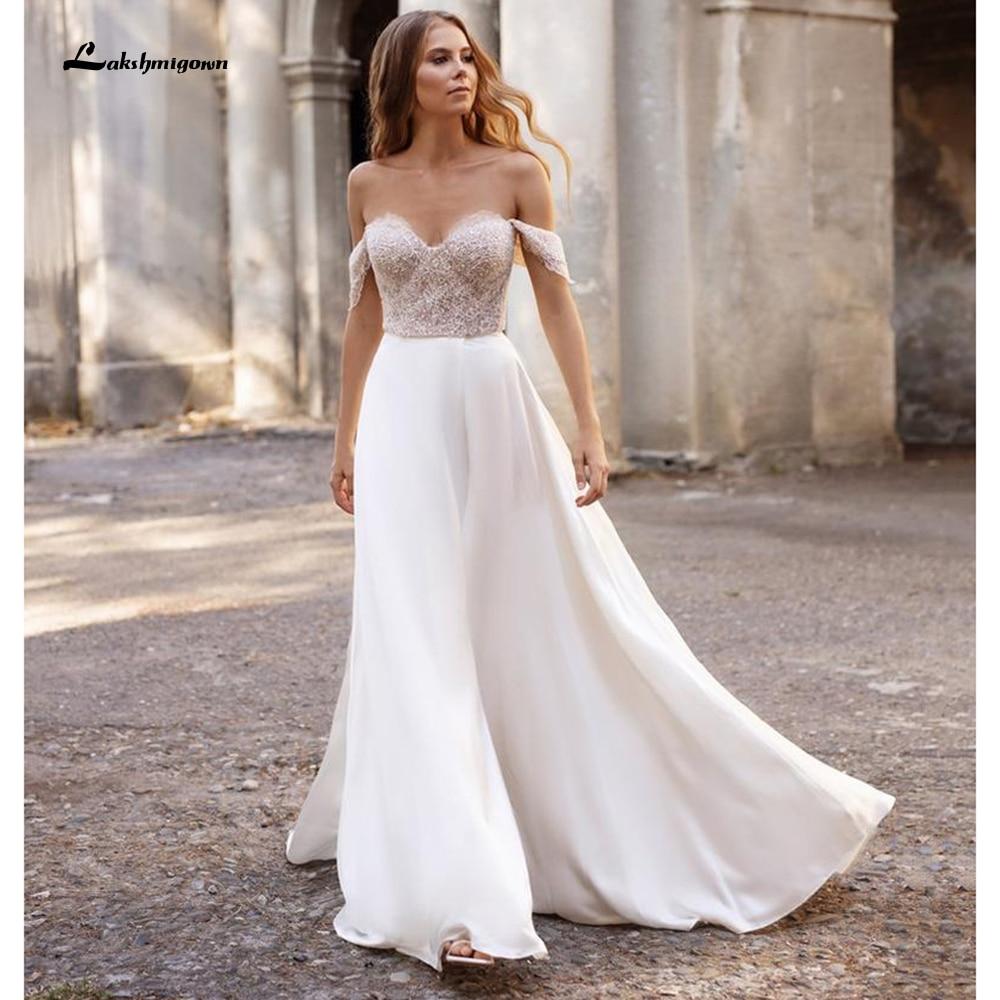 Vestido de boda de dos piezas con abertura alta y hombros descubiertos,...