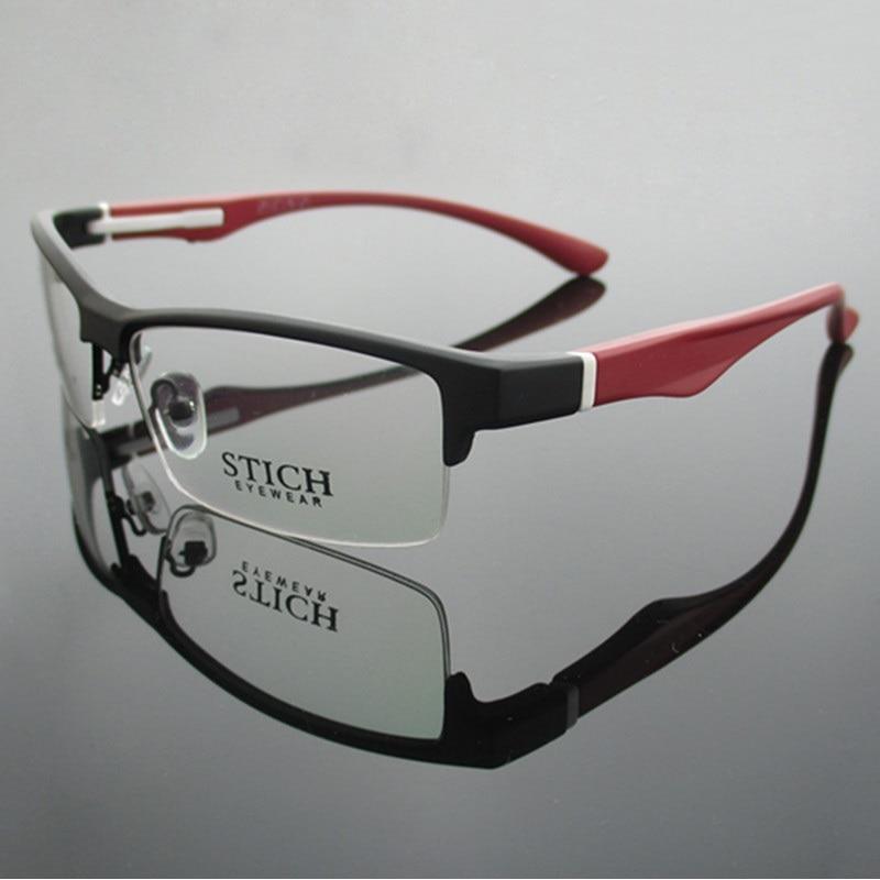 Vazrobe العلامة التجارية TR90 النظارات الإطار الرجال شبه بدون شفة نظارات إطارات للذكور وصفة طبية عدسة قصر النظر الديوبتر نظارات رجل