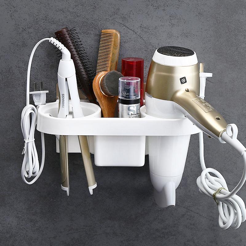 Estante de pared para cuarto de baño, estante para secador de pelo montado en espiral, organizador de almacenamiento para ducha, soporte para secador de pelo, soporte de plástico para champú