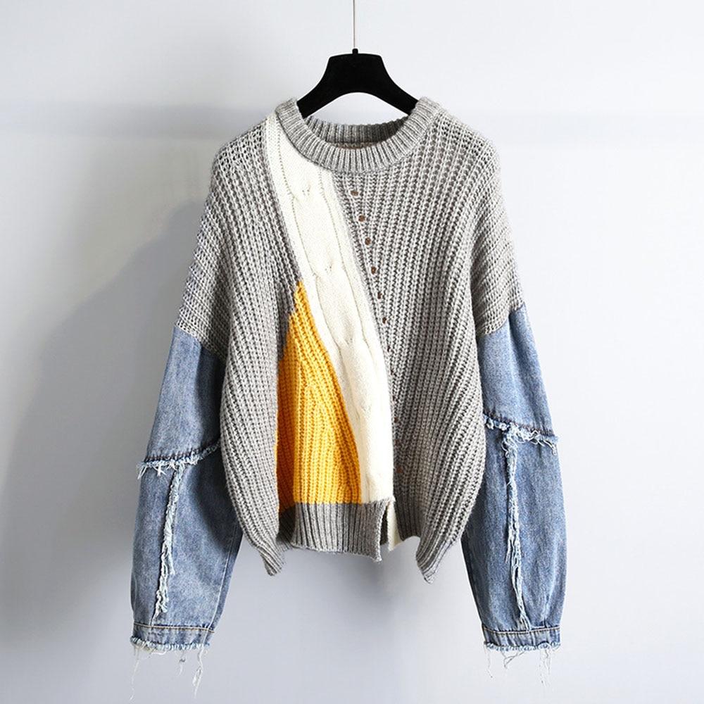 Женский джинсовый свитер с вышивкой, Женский пуловер, одежда на осень/зиму, новинка, корейский стиль, свободный, подходящий цвет, утепленные ...