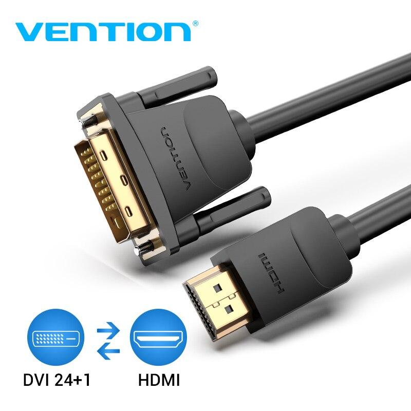 Vention HDMI إلى DVI كابل 1m 2m 3m 5m DVI-D 24 + 1 دبوس دعم 1080P 3D عالية السرعة HDMI كابل ل LCD DVD HDTV XBOX العارض PS3