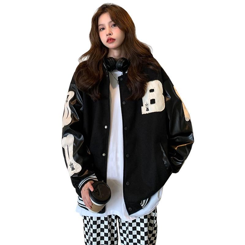 Woolen Leather Patchwork Heavy Industry Baseball Uniform Women's Autumn Jacket