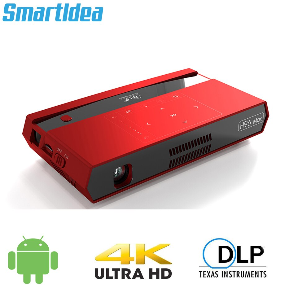 Smartldea h96 max mini hd 4k projetor android 6.0 duplo 2.4g 5g wifi casa inteligente cinema proyector vídeo game blutooth4.1 beamer