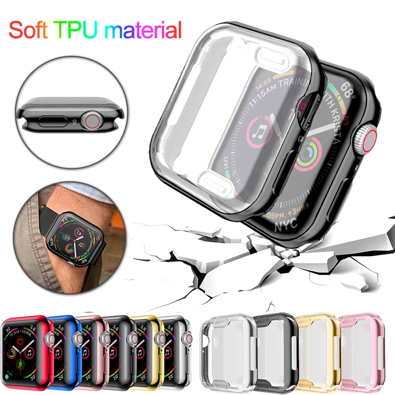 case for apple watch series 6 5 4 3 2 1 se band all around ultra thin screen protector cover iwatch case 44mm 40mm 42mm 38mm Watch Cover For Apple Watch band series 6 5 4 40mm 44mm case 3 2 1 42mm 38mm Slim All inclusiveTPU case Protector for iWatch 6