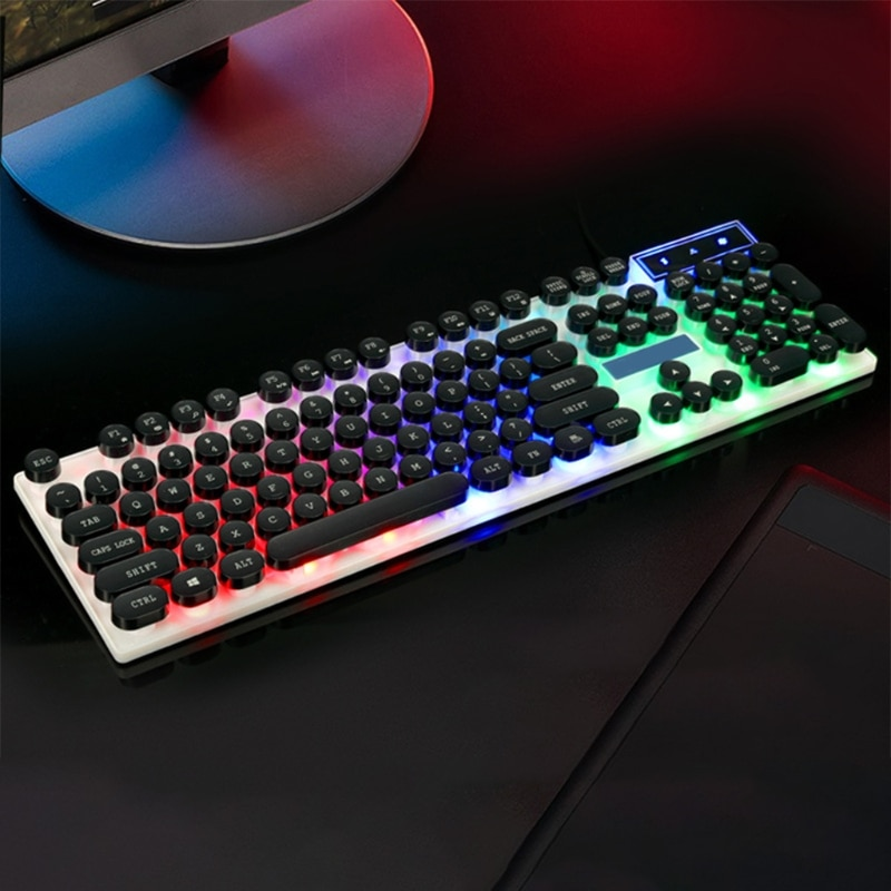 USB Wired Gaming Keyboard with Color Lights, Waterproof Punk Keyboard, Suitable for Games and Work 104 Keys Retailsale