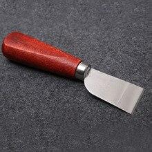 سكين تقطيع جلدي من الفولاذ المقاوم للصدأ أداة قانزو متعددة الاستخدامات مع مقبض خشبي JY