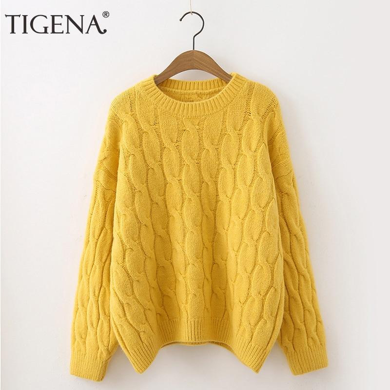 TIGENA Candy colors Winter Pullover Sweater mujeres 2019 suelta de manga larga de punto suéter femenino amarillo verde rosa Jumper señoras