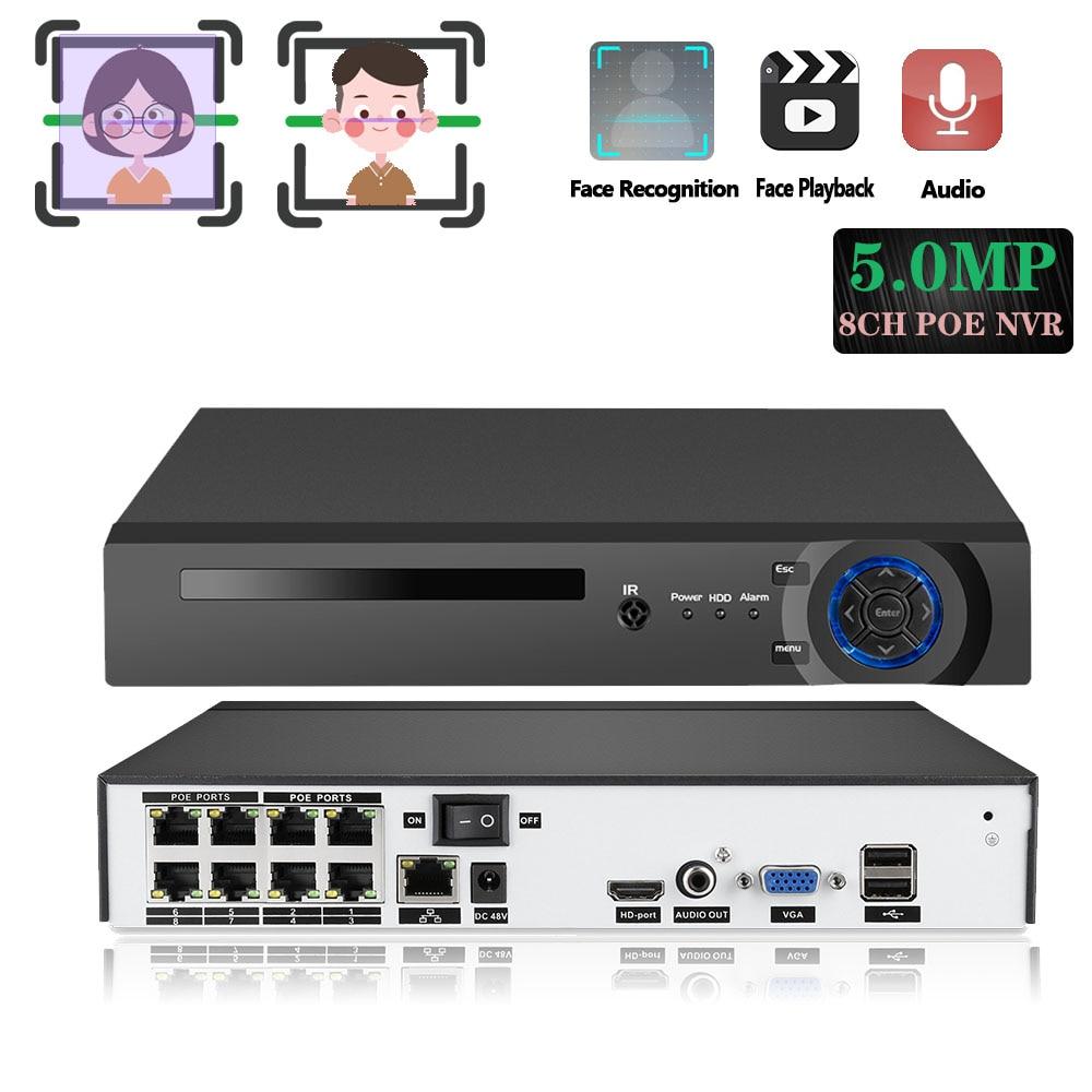 مسجل فيديو شبكي h265 8CH POE ، نظام أمان ، كاميرا مراقبة ، CCTV ، P2P ، ONVIF ، 5MP ، مسجل صوت