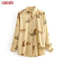 Tangada femmes rétro surdimensionné animal imprimé blouse à manches longues chic femme décontracté chemise ample blusas femininas 3H307