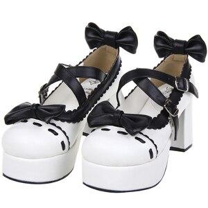 Women's shoes Lolita single shoes high heel princess shoes High help Bowknot Princess Kawaii Girl Women Shoes Vintage Sweet Loli