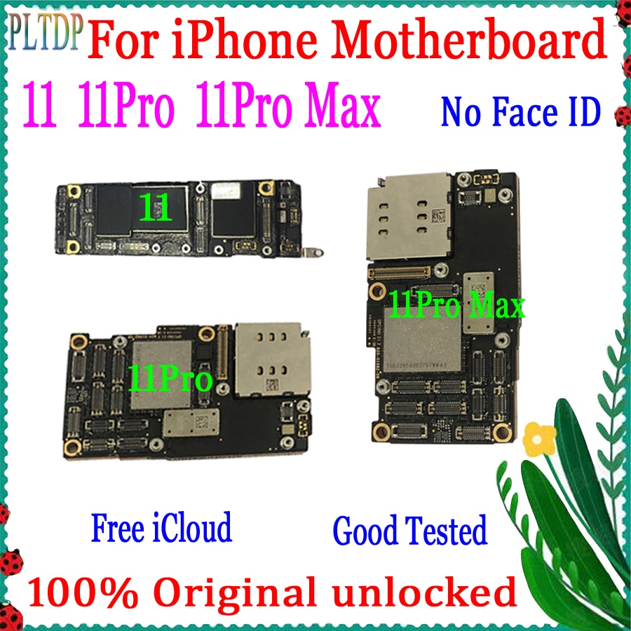 Get 100% Original unlocked for iphone 11 Pro Max motherboard free iCloud with full chips & IOS System Logic board With/No Face ID