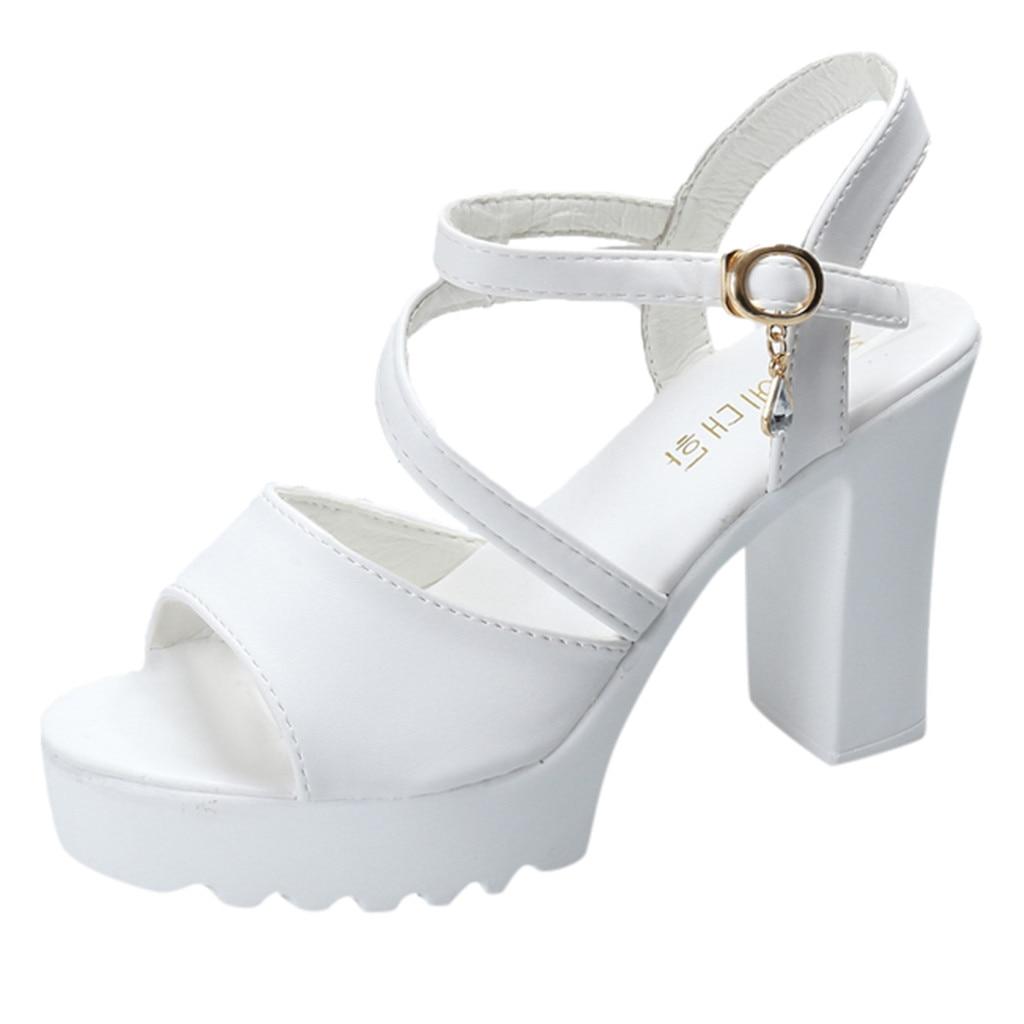 SAGACE Women's high heel open toe Fish Mouth Rhinestone Platform pumps Sandals Buckle Strap Shoes Wo