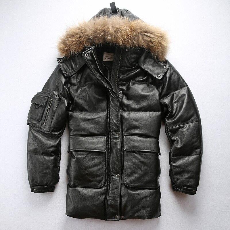 جديد AVFLY 2019 جاكيت جلد أسود طويل من الجلد للرجال للشتاء سميك دافئ معاطف روسية من الجلد شحن مجاني