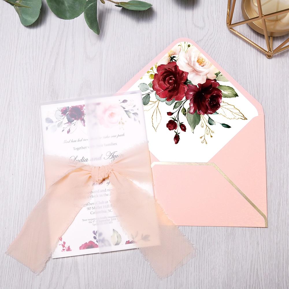 50pcs Invitations Cards Bridal, Baby Shower Invite, Birthday, Dinner Invites, Pink pocket with Flower