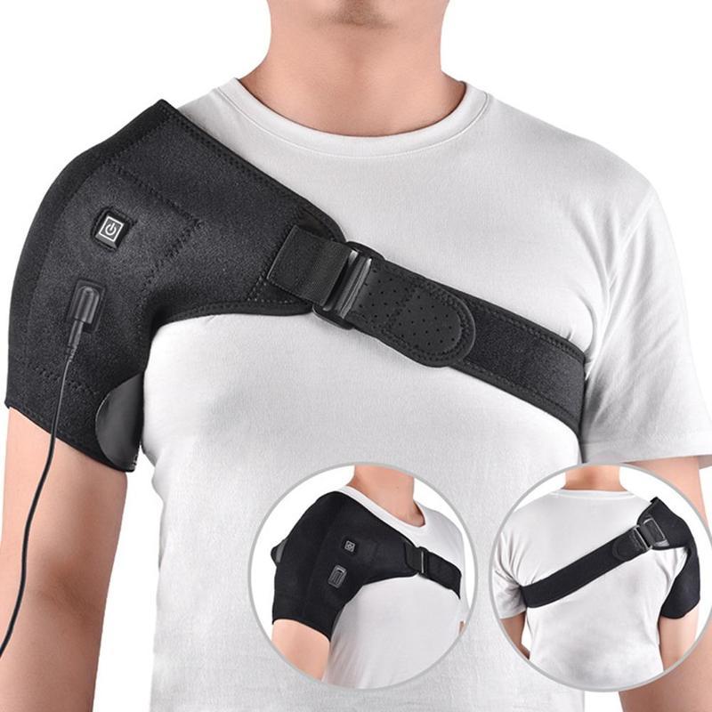 Terapia de calor eléctrica ajustable hombro Brace cinturón de apoyo trasero dislocado hombros rehabilitación hombro lesiones dolor envoltura
