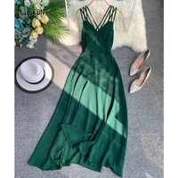 green summer korean long dress sexy spaghetti bandage halter backless dresses women slim holiday beach dress vestido feminino