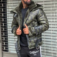 2021 New Leather Jacket Fashion Mens Camouflage Fur Collar Zipper Long Sleeve Plus Velvet Thicken Wa